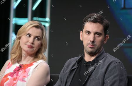 "Geena Davis, left, and creator/executive producer Jeremy Slater participate in the panel for ""The Exorcist"" during the Fox Television Critics Association summer press tour, in Beverly Hills, Calif"