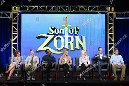 "Stock Picture of Artemis Pebdani, from left, Johnny Pemberton, Tim Meadows, Cheryl Hines, executive producer Sally Bradford McKenna, executive producer/director Eric Appel and co-creator/executive producer Reed Agnew participate in the ""Son of Zorn"" panel during the Fox Television Critics Association summer press tour, in Beverly Hills, Calif"