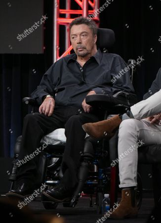 """Tim Curry participates in the panel for """"The Rocky Horror Picture Show"""" during the Fox Television Critics Association summer press tour, in Beverly Hills, Calif"""
