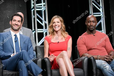 "Stock Photo of Tom Ellis, from left, Tricia Helfer and DB Woodside participate in the ""Gotham/Lucifer"" panel during the Fox Television Critics Association summer press tour, in Beverly Hills, Calif"