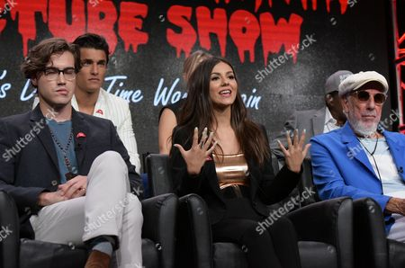 "Ryan McCartan, from left, Staz Nair, Victoria Justice and executive producer Lou Adler participates in the panel for ""The Rocky Horror Picture Show"" during the Fox Television Critics Association summer press tour, in Beverly Hills, Calif"