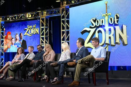 "Stock Image of Artemis Pebdani, from left, Johnny Pemberton, Tim Meadows, Cheryl Hines, executive producer Sally Bradford McKenna, executive producer/director Eric Appel and co-creator/executive producer Reed Agnew participate in the ""Son of Zorn"" panel during the Fox Television Critics Association summer press tour, in Beverly Hills, Calif"