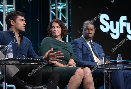 "Sean Teale, from left, Julia Ormond and Dennis Haysbert participate in the Syfy network's ""Incorporated"" panel during the NBCUniversal Television Critics Association summer press tour, in Beverly Hills, Calif"