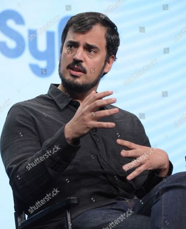 """Alex Pastor, co-creator and executive producer, participates in the Syfy network's """"Incorporated"""" panel during the NBCUniversal Television Critics Association summer press tour, in Beverly Hills, Calif"""