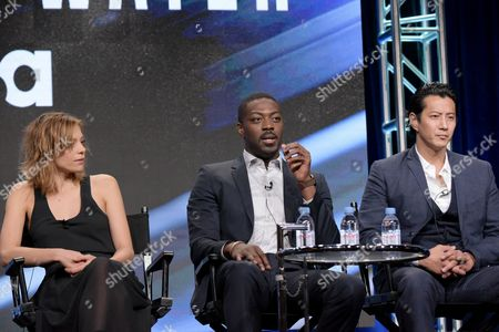 """Lizzie Brochere, from left, David Ajala and Will Yun Lee participate in USA network's """"Falling Water"""" panel during the NBCUniversal Television Critics Association summer press tour, in Beverly Hills, Calif"""