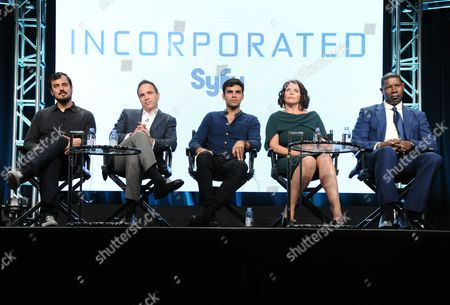 Alex Pastor, co-creator and executive producer, from left, executive producer Ted Humphrey, Sean Teale, Julia Ormond and Dennis Haysbert participate in the Syfy network's 'Incorporated' panel during the NBCUniversal Television Critics Association summer press tour, in Beverly Hills, Calif