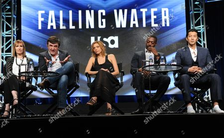 "Stock Image of Producers Gale Anne Hurd, from left, Blake Masters, Lizzie Brochere, David Ajala and Will Yun Lee participate in USA network's ""Falling Water"" panel during the NBCUniversal Television Critics Association summer press tour, in Beverly Hills, Calif"