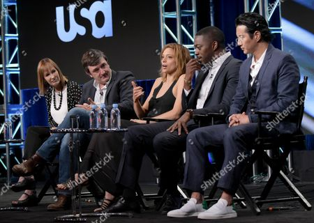 "Stock Picture of Producers Gale Anne Hurd, from left, Blake Masters, Lizzie Brochere, David Ajala and Will Yun Lee participate in USA network's ""Falling Water"" panel during the NBCUniversal Television Critics Association summer press tour, in Beverly Hills, Calif"