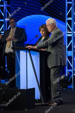 Valerie Harper, left, and Allan Burns speak at the 32nd Annual Television Critics Association Awards Show at the Beverly Hilton, in Beverly Hills, Calif