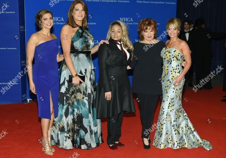 """The View"""" co-hosts, from left, Paula Faris, Michelle Collins, Raven- Symone, Joy Behar and Candace Cameron-Bure attend the White House Correspondents' Association Dinner at the Washington Hilton Hotel, in Washington"""
