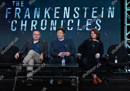 """Benjamin Ross, from left, Sean Bean and Tracey Scoffield appear at the panel for """"The Frankenstein Chronicles"""" at the A&E 2016 Winter TCA, in Pasadena, Calif"""
