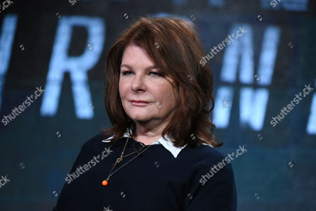 """Tracey Scoffield speaks during the panel for """"The Frankenstein Chronicles"""" at the A&E 2016 Winter TCA, in Pasadena, Calif"""