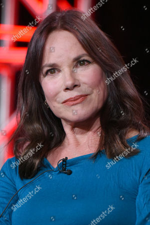 """Barbara Hershey speaks during the """"Damien"""" panel at the A&E 2016 Winter TCA, in Pasadena, Calif"""