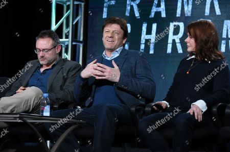 """Stock Photo of Benjamin Ross, from left, Sean Bean and Tracey Scoffield speak during the panel for """"The Frankenstein Chronicles"""" at the A&E 2016 Winter TCA, in Pasadena, Calif"""