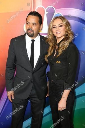 Vincent Laresca, lett, and Drea de Matteo arrive at the 2016 NBCUniversal Winter TCA at the Langham Huntington Hotel & Spa, in Pasadena Calif