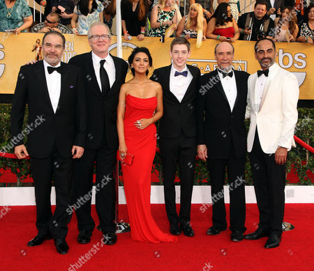 From left, Mandy Patinkin, Tracy Letts, Nazanin Boniadi, Jackson Pace, F. Murray Abraham and Navid Negahban arrive at the 20th annual Screen Actors Guild Awards at the Shrine Auditorium, in Los Angeles