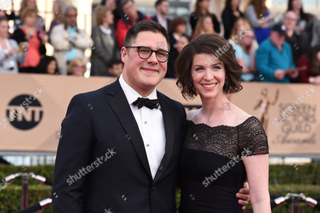 Rich Sommer, left, and Virginia Donohoe arrive at the 22nd annual Screen Actors Guild Awards at the Shrine Auditorium & Expo Hall, in Los Angeles