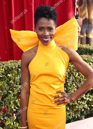 Sola Bamis arrives at the 22nd annual Screen Actors Guild Awards at the Shrine Auditorium & Expo Hall, in Los Angeles