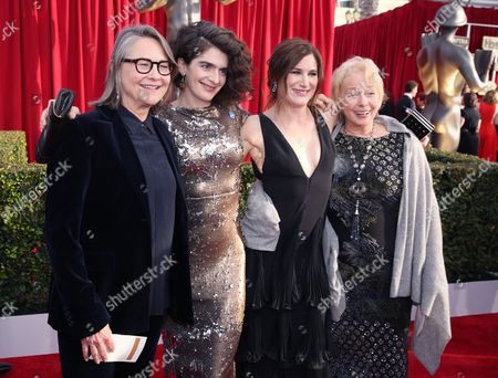 Cherry Jones, from left, Gaby Hoffman, Kathryn Hahn, and Jenny O'Hara arrive at the 22nd annual Screen Actors Guild Awards at the Shrine Auditorium & Expo Hall, in Los Angeles
