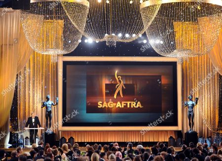 Ken Howard, president of SAG-AFTRA, speaks at the 22nd annual Screen Actors Guild Awards at the Shrine Auditorium & Expo Hall, in Los Angeles