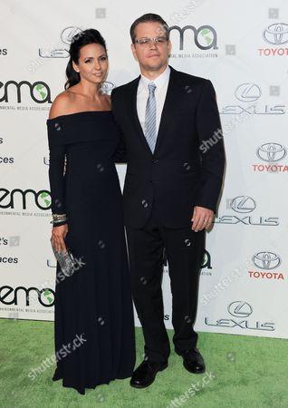 Matt Damon, right, and Luciana Bozan Barroso arrive at the 23rd Annual Environmental Media Awards at Warner Bros. Studios on in Burbank, Calif