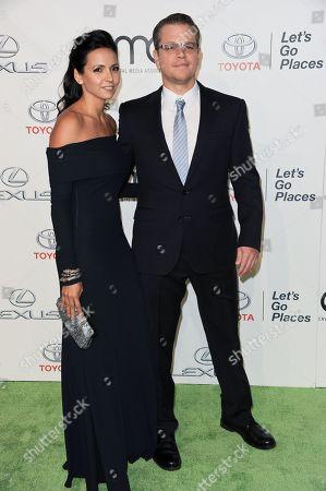 Stock Image of Matt Damon, right, and Luciana Bozan Barroso arrive at the 23rd Annual Environmental Media Awards at Warner Bros. Studios on in Burbank, Calif