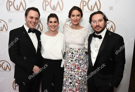 Ido Ostrowsky, from left, Nora Grossman, Keira Knightley, and Teddy Schwarzman arrive at the 26th Annual Producers Guild Awards at the Hyatt Regency Century Plaza, in Los Angeles
