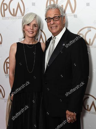 Molly Jordan Koch and Hawk Koch, President Emeritus, PGA arrive at the 26th Annual Producers Guild Awards at the Hyatt Regency Century Plaza, in Los Angeles
