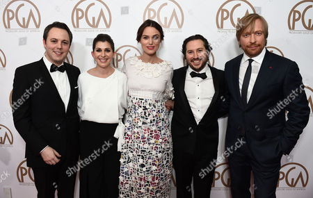 Ido Ostrowsky, from left, Nora Grossman, Keira Knightley,Teddy Schwarzman, and Morten Tyldum arrive at the 26th Annual Producers Guild Awards at the Hyatt Regency Century Plaza, in Los Angeles