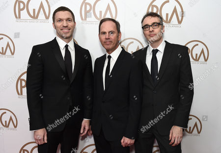 Travis Knight, and from left, David Ichioka, and Graham Annable arrive at the 26th Annual Producers Guild Awards at the Hyatt Regency Century Plaza, in Los Angeles