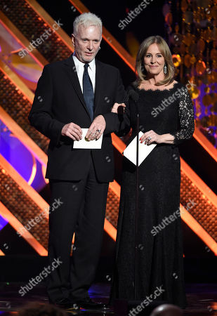 Anthony Geary, left, and Genie Francis present the award for outstanding drama series at the 42nd annual Daytime Emmy Awards at Warner Bros. Studios, in Burbank, Calif