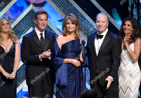 Allison Sweeney, from left, Drake Hogestyn, Deidre Hall, Ken Corday, and Kristian Alfonso speak at the 42nd annual Daytime Emmy Awards at Warner Bros. Studios, in Burbank, Calif