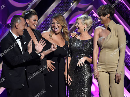 "Joe Zee, from left, Chrissy Teigen, Lauren Makk, Leah Ashley and Tyra Banks present the award for outstanding talk show â?"" informative at the 42nd annual Daytime Emmy Awards at Warner Bros. Studios, in Burbank, Calif"