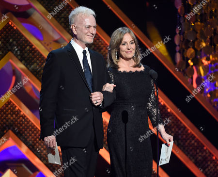 Stock Picture of Anthony Geary, left, and Genie Francis present the award for outstanding drama series at the 42nd annual Daytime Emmy Awards at Warner Bros. Studios, in Burbank, Calif