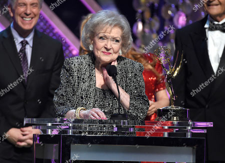 Betty White accepts the lifetime achievement award at the 42nd annual Daytime Emmy Awards at Warner Bros. Studios, in Burbank, Calif