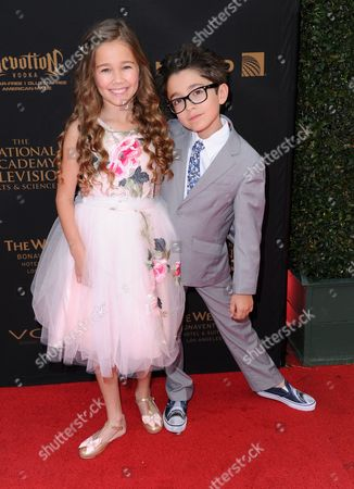 Brooklyn Rae Silzer, left, and Nicolas Bechtel arrive at the 43rd annual Daytime Emmy Awards at the Westin Bonaventure Hotel, in Los Angeles