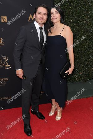Dominic Zamprogna, left, and Linda Leslie arrive at the 43rd annual Daytime Emmy Awards at the Westin Bonaventure Hotel, in Los Angeles