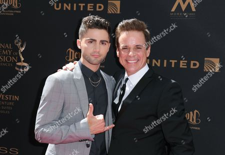 Max Ehrich, left, and Christian LeBlanc arrive at the 43rd annual Daytime Emmy Awards at the Westin Bonaventure Hotel, in Los Angeles