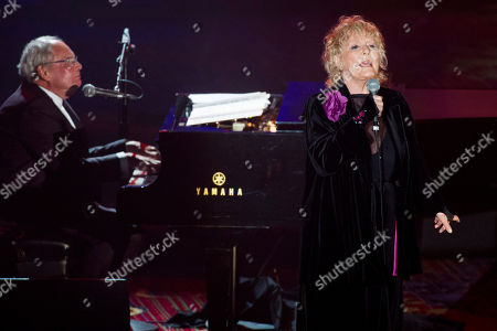 "This photo shows inductee Tony Hatch, left, and singer Petula Clark performing ""Downtown"" at the Songwriters Hall of Fame 44th annual induction and awards gala in New York"