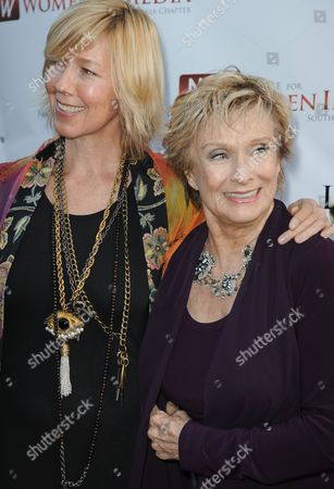 Dinah Englund, left, and Cloris Leachman arrive at the Alliance for Women in Media's 56th Annual Genii Awards at the Skirball Cultural Center on in Los Angeles