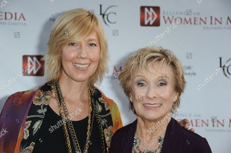 Dinah Englund, left, and Cloris Leachman arrive at the Alliance for Women in Mediaâ?™s 56th Annual Genii Awards at the Skirball Cultural Center on in Los Angeles