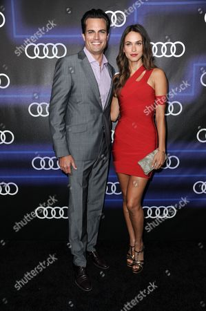 Asha Leo, right, and guest arrives at the 5th Annual Audi Emmy Celebration, in West Hollywood, Calif