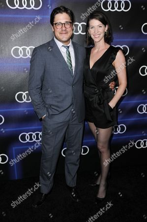 Rich Sommer, left, and Virginia Donohoe arrive at the 5th Annual Audi Emmy Celebration, in West Hollywood, Calif
