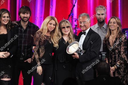 Hillary Scott, and from left Dave Haywood, of the musical group Lady Antebellum, Shakira, Del Bryant, BMI President, Adam Levine and Sheryl Crow present the BMI Icon Award to Stevie Nicks, center, on stage at the 62nd Annual BMI Pop Awards at the Beverly Wilshire Hotel, in Beverly Hills, Calif