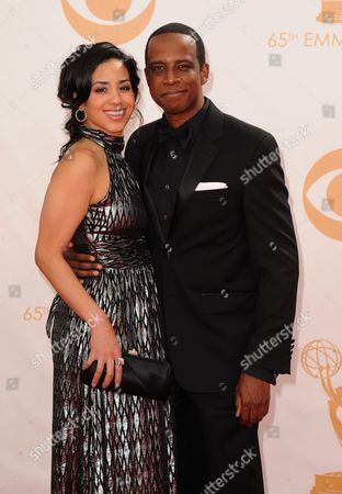 Jill Knox and Keith Powell arrive at the 65th Primetime Emmy Awards at Nokia Theatre, in Los Angeles