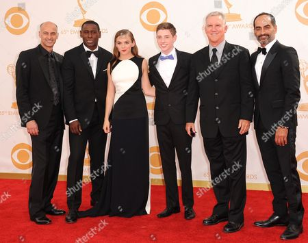 David Marciano, David Harewood, Morgan Saylor, Jackson Pace, Jamey Sheridan and Navid Negahban arrive at the 65th Primetime Emmy Awards at Nokia Theatre, in Los Angeles