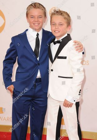 Stock Picture of Maxwell Perry Cotton and Mason Vale Cotton arrive at the 65th Primetime Emmy Awards at Nokia Theatre, in Los Angeles
