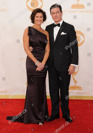 Evelyn Colbert and Stephen Colbert arrive at the 65th Primetime Emmy Awards at Nokia Theatre, in Los Angeles