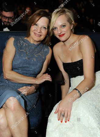 From left, Linda Moss and Elisabeth Moss are seen at the 65th Primetime Emmy Awards at Nokia Theatre, in Los Angeles