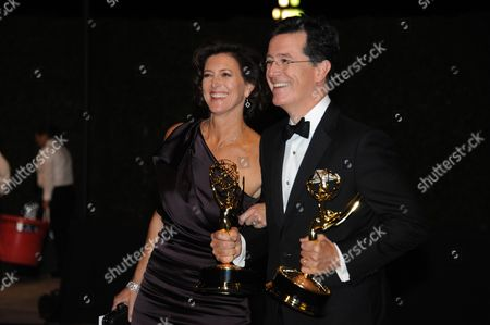 Evelyn Colbert and Stephen Colbert are seen at the Governors Ball at the 65th Primetime Emmy Awards at Nokia Theatre, in Los Angeles